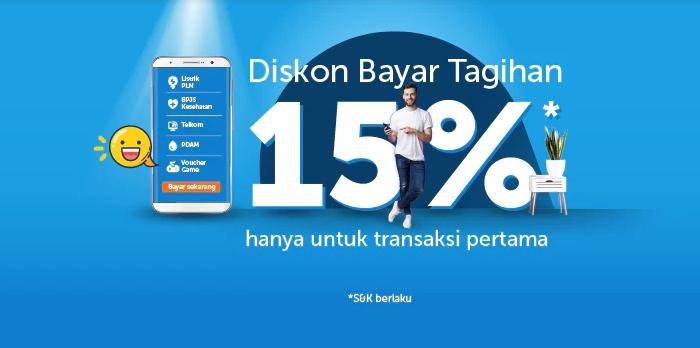 Traveloka Bayar Tagihan Diskon 15% Untuk Transaksi Pertama