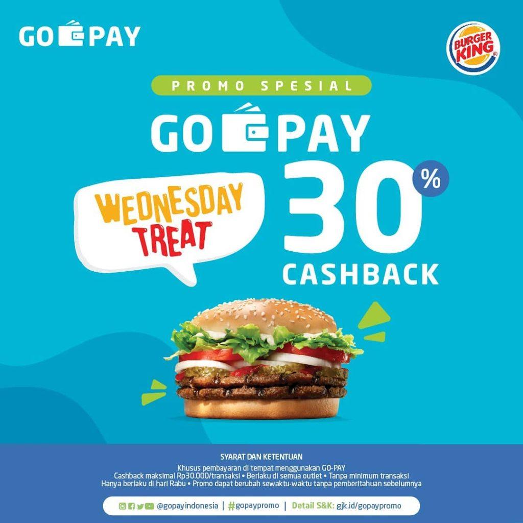 BURGER KING WEDNESDAY TREAT CASHBACK 30% dengan GO-PAY