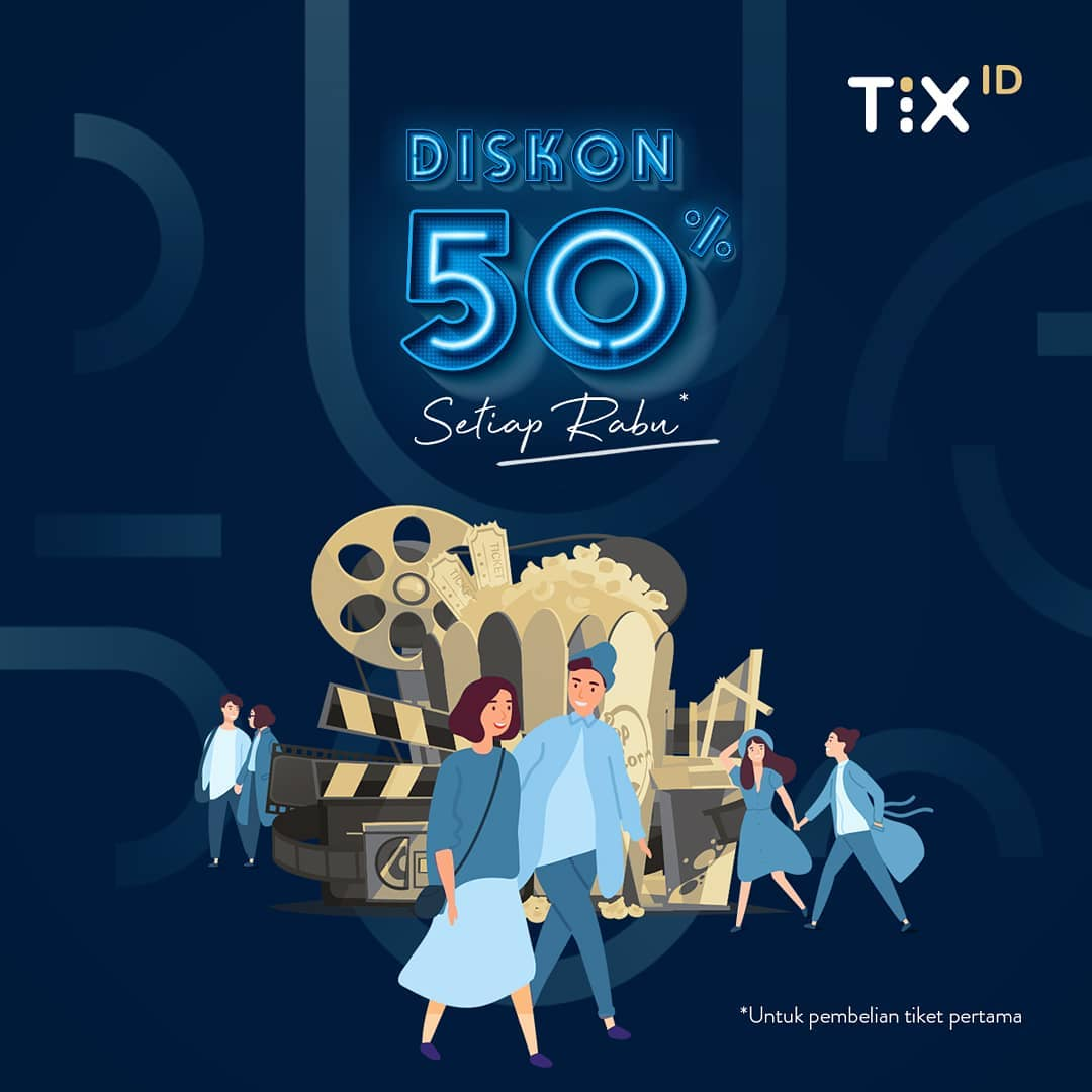 TIX.ID Diskon 50% Untuk Tiket Pertama setiap hari RABU