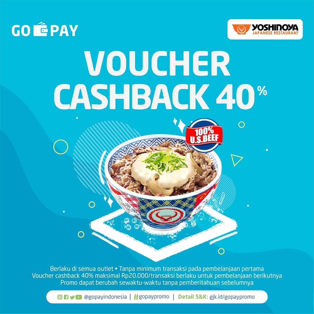 Diskon Yoshinoya Promo CASHBACK 40% Dengan Gopay