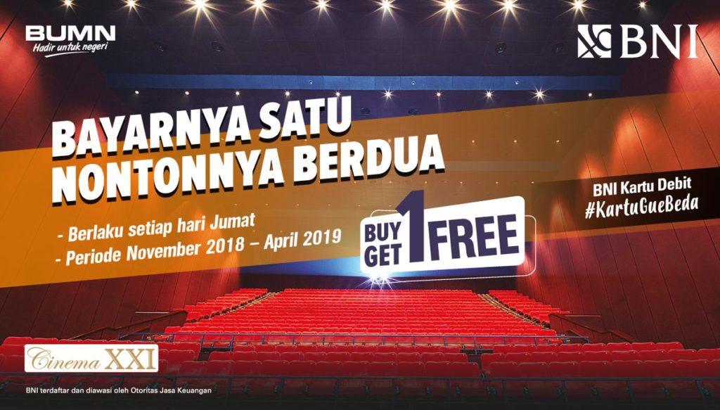 Diskon XXI Promo Buy 1 Get 1 Dengan Kartu Debit BNI
