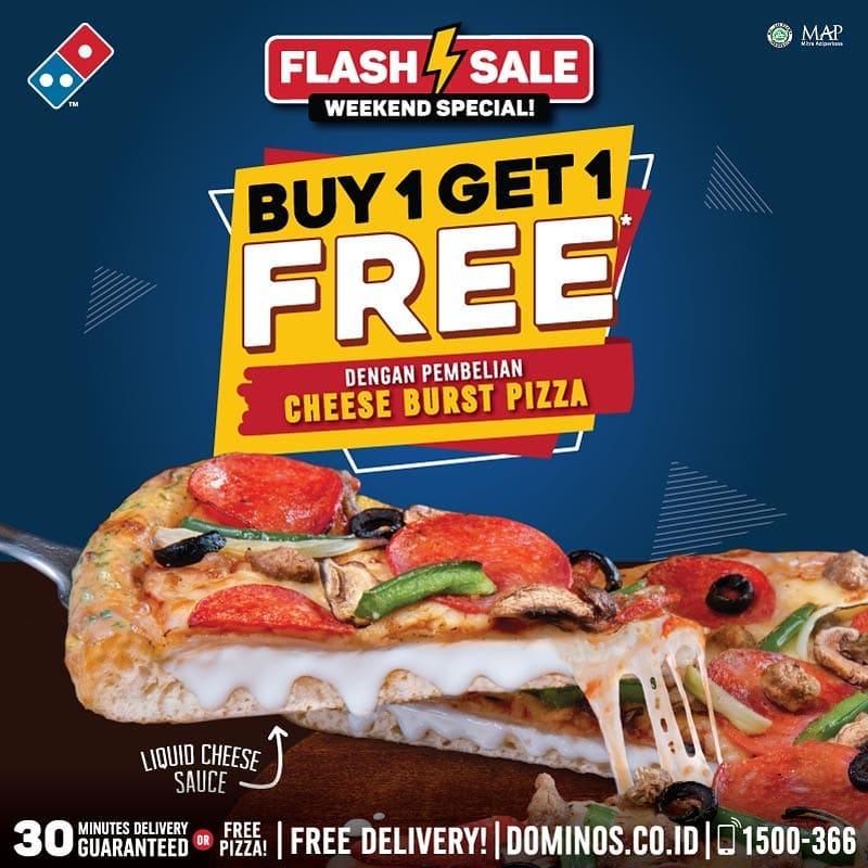 Diskon Dominos Pizza Promo Flash Weekend, Buy 1 Get 1 Free