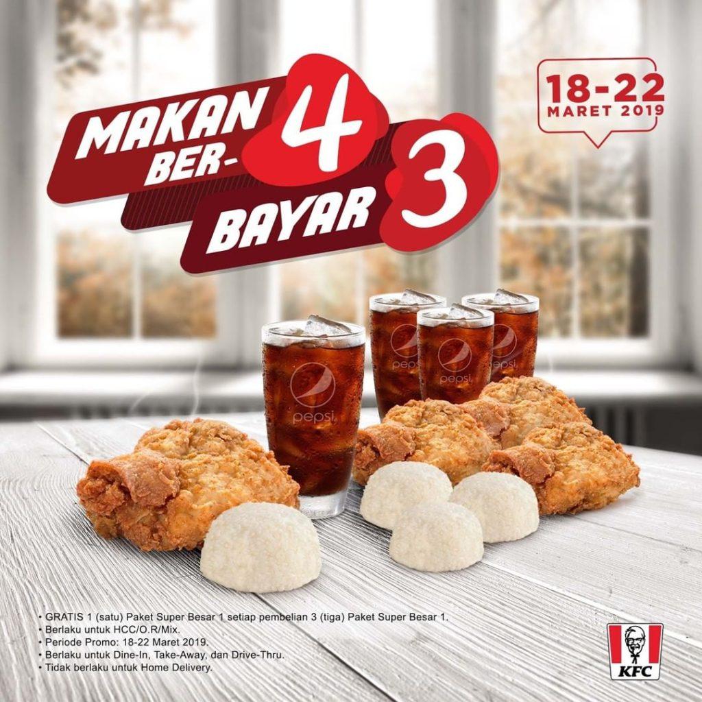KFC Promo BELI 3 GRATIS 1 untuk pembelian PAKET SUPER BESAR 1