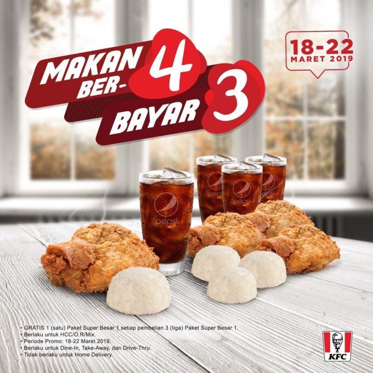 Diskon KFC Promo BELI 3 GRATIS 1 untuk PAKET SUPER BESAR 1