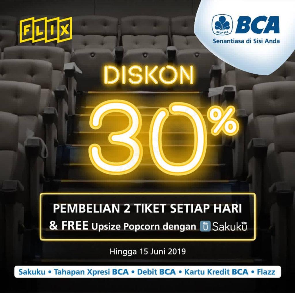 Flix Cinema Diskon 30% + Free upsize popcorn dengan SAKUKU