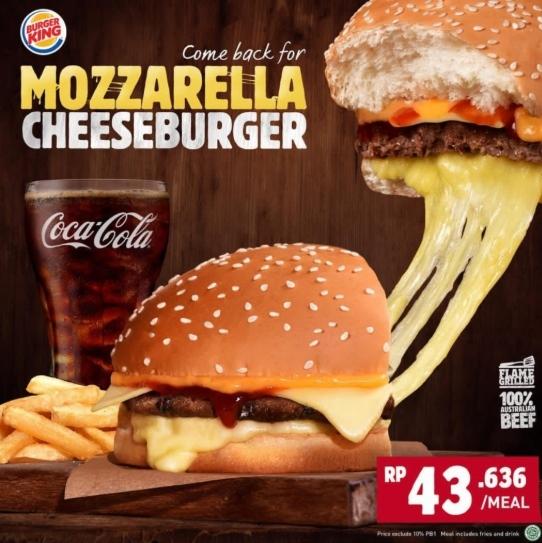 BURGER KING Mozzarella Cheeseburger Hanya Rp 43.636 per Paket