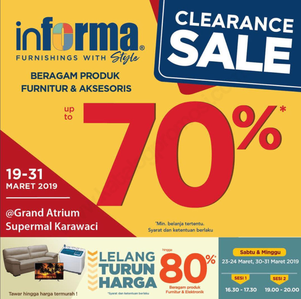INFORMA CLEARANCE SALE up to 70% off di SUPERMAL KARAWACI