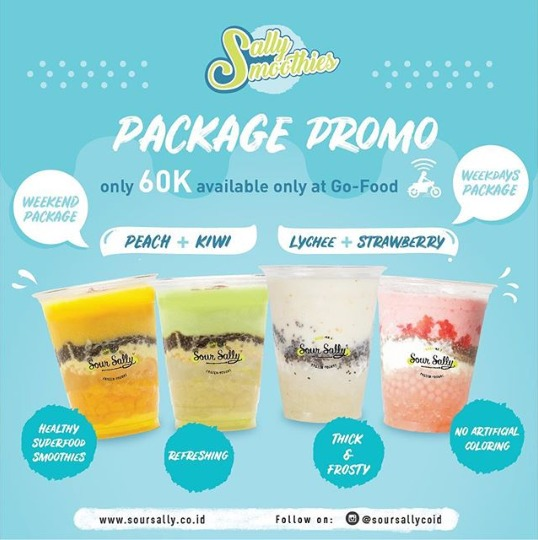 "Diskon SOUR SALLY Promo Menu Baru ""Sally Smoothies"" only 48k"