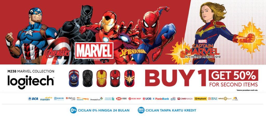 BLIBLI.COM Diskon 50% 2nd items LOGITECH M238 Marvel Collection