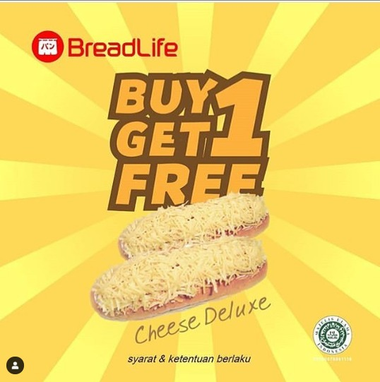Diskon BREADLIFE Promo Buy 1 Get 1 Cheese Deluxe with LINE Coupon