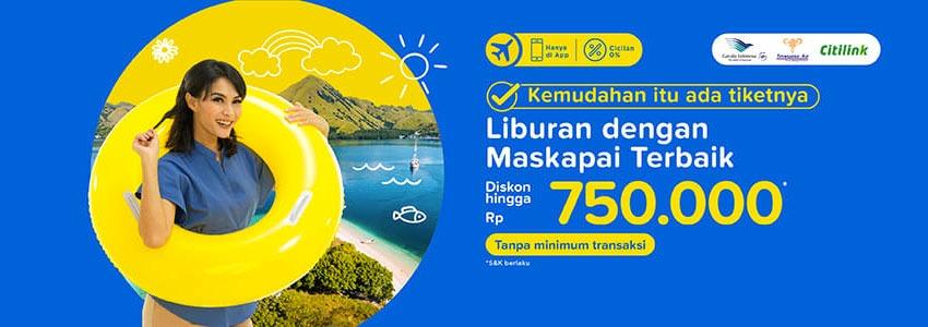 TIKET.COM Diskon Tiket Sampai Rp.750.000  13 % Off tiket pesawat