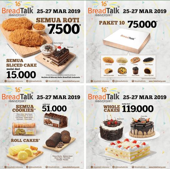 BREADTALK 16th Anniversary Promo Semua Roti Rp. 7.500* dan Semua Slice Cake mulai Rp. 15.000*