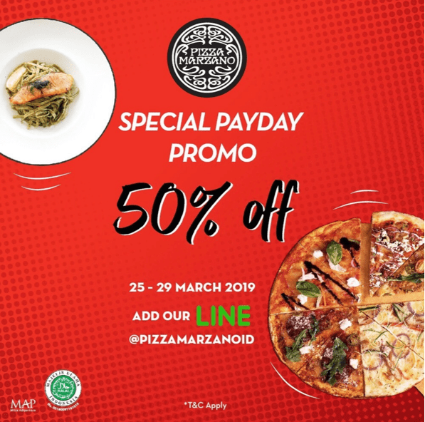 PIZZA MARZANO Payday Promo 50% Off Dengan Kupon LINE