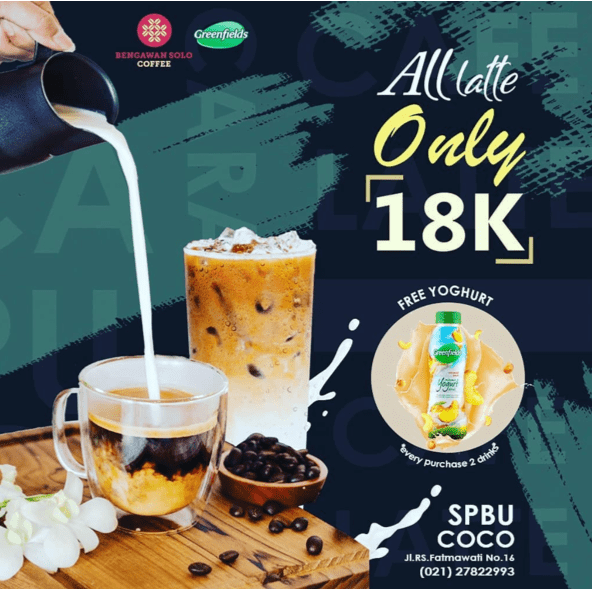 Bengawan Solo Coffee Promo All Latte Only 18K + Free Yoghurt Every Purchase 2 Drinks