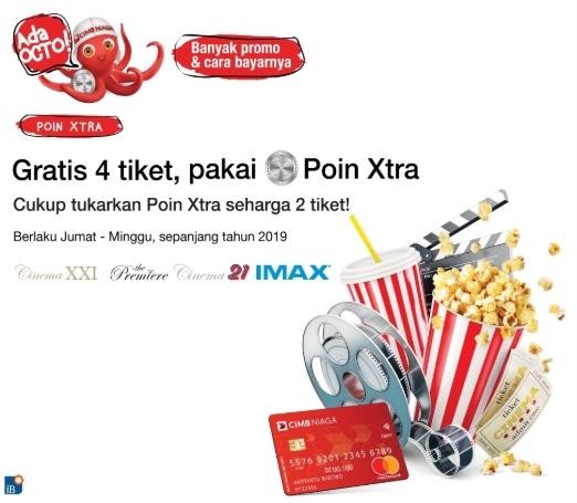 Cinema XXI Promo Spesial GRATIS 4 Tiket Dengan Poin Xtra CIMB Niaga