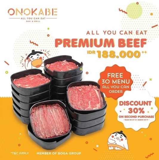 Diskon ONOKABE Promo All You Can Eat Premium Beef  Rp. 188.000++ dan Diskon 30%