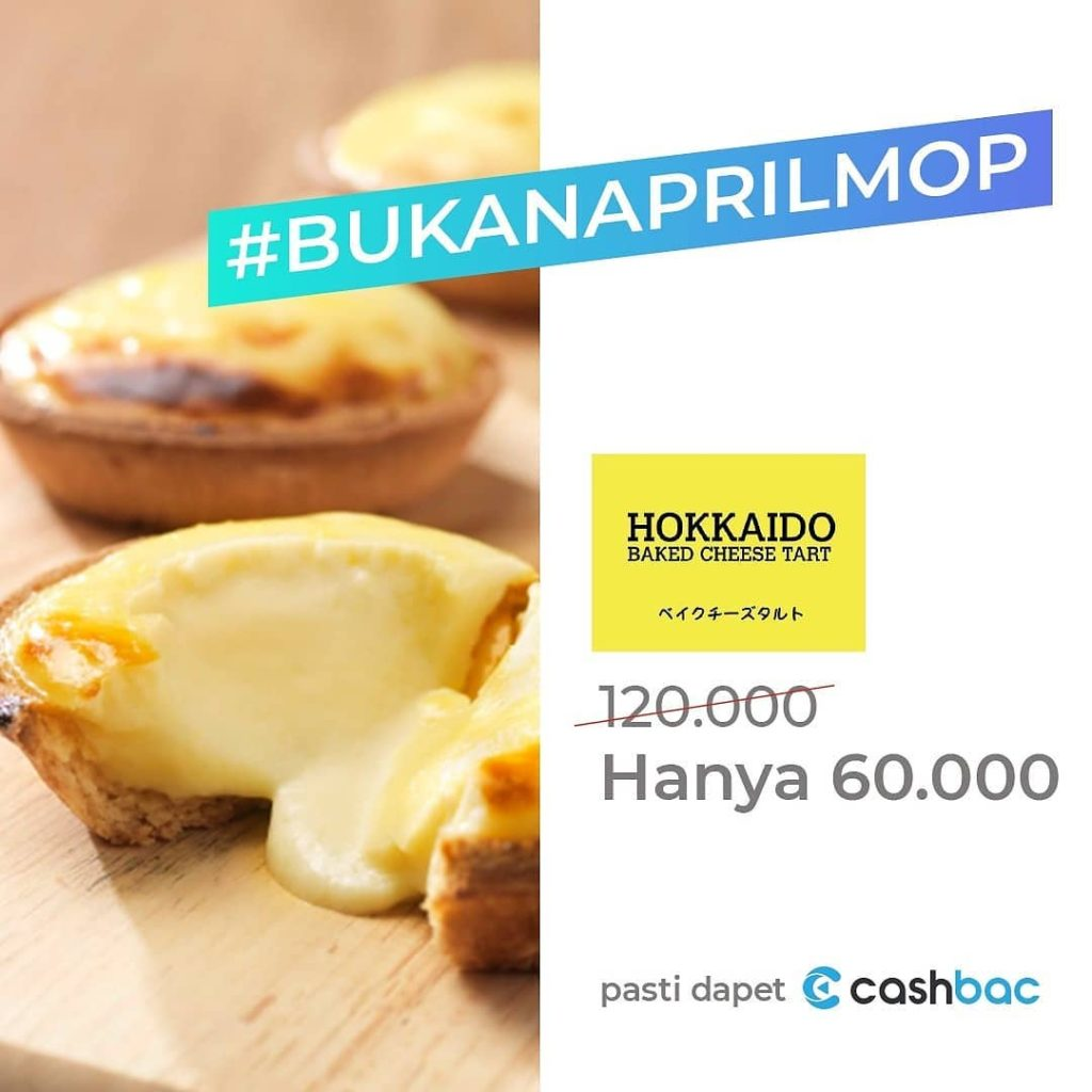 Hokkaido Baked Cheese Tart seharga Rp. 60.000,- atau Box dengan Cashbac App