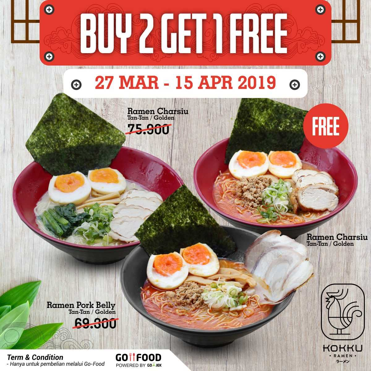 Kokku Ramen Special Offer, Promo Buy 2 Get 1 Free!