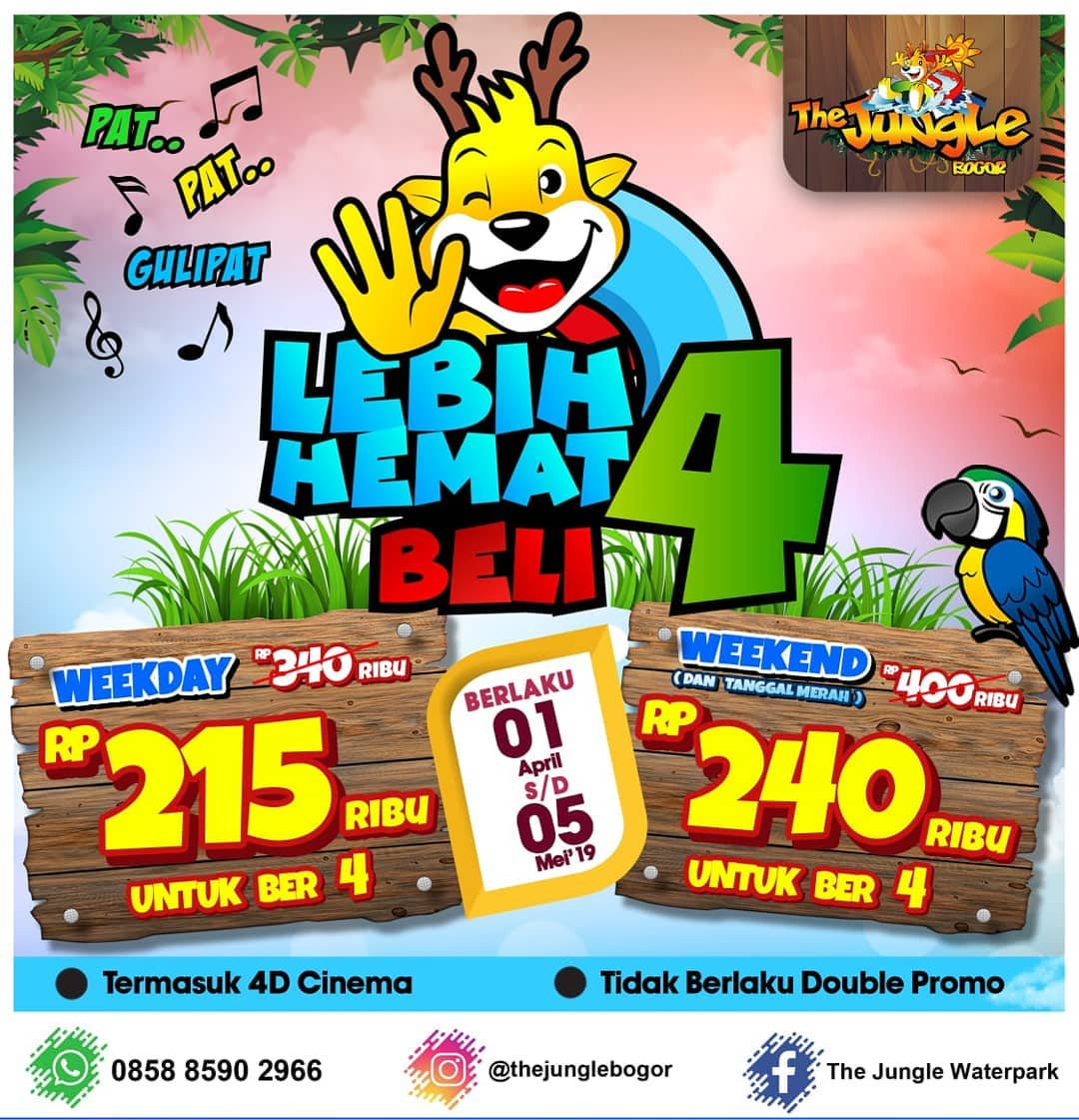 Diskon The Jungle Bogor Promo Hemat BEREMPAT, HARGA Mulai Dari Rp. 215.000