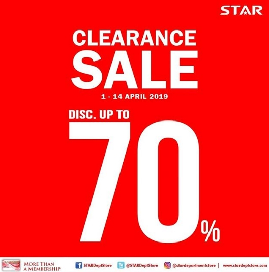 STAR Department Store Promo Clearance SALE Discount Up to 70%