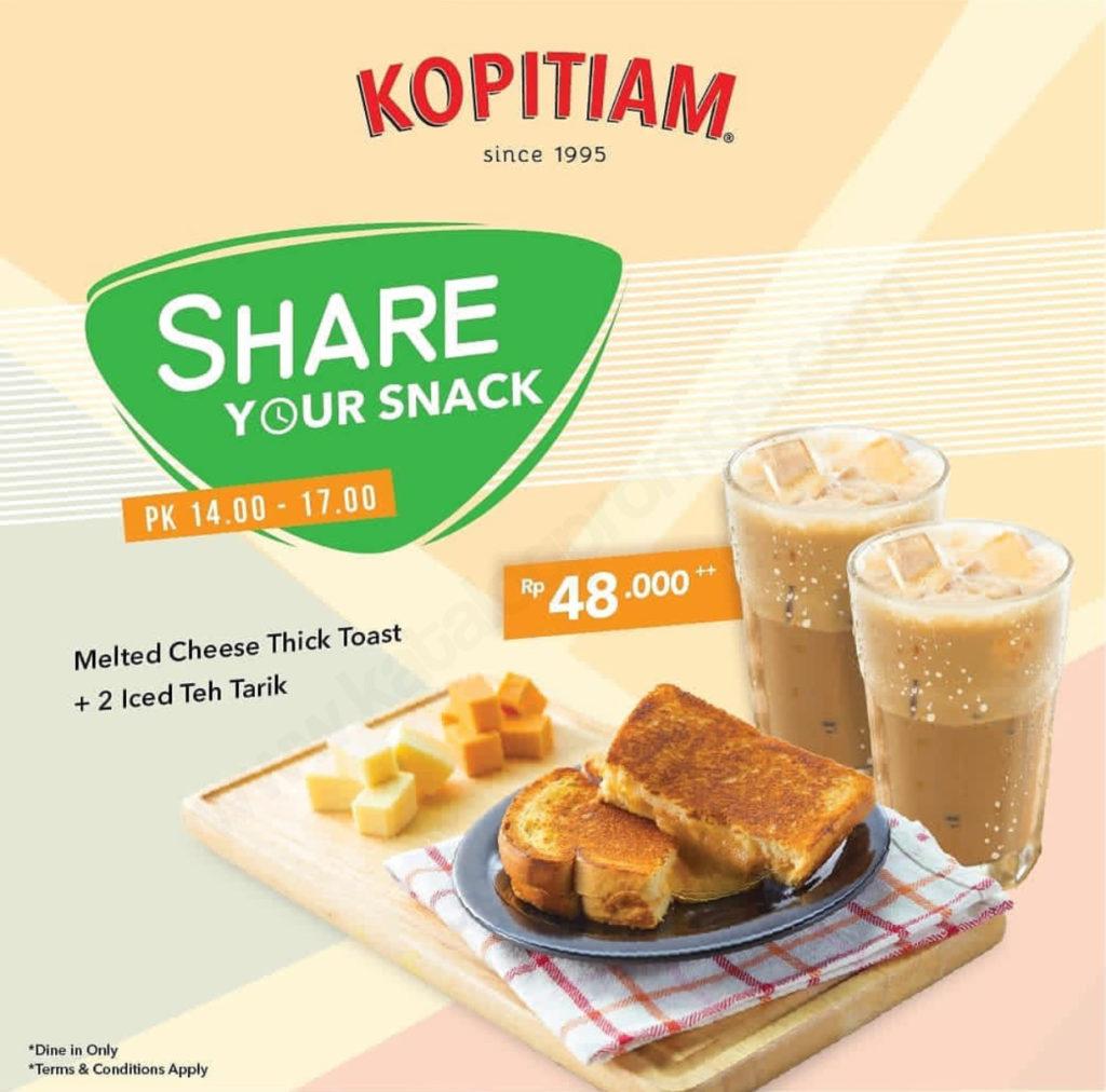 KOPITIAM Promo – Harga Spesial Melted Cheese Thick Toast + 2 Iced Teh Tarik Hanya Rp. 48.000++