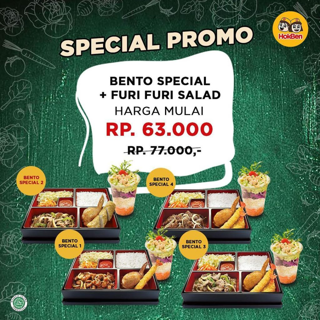 HOKBEN Promo SPECIAL PRICE – Paket Bento Special dan Furi-furi Salad Chicken Topping mulai dari Rp63