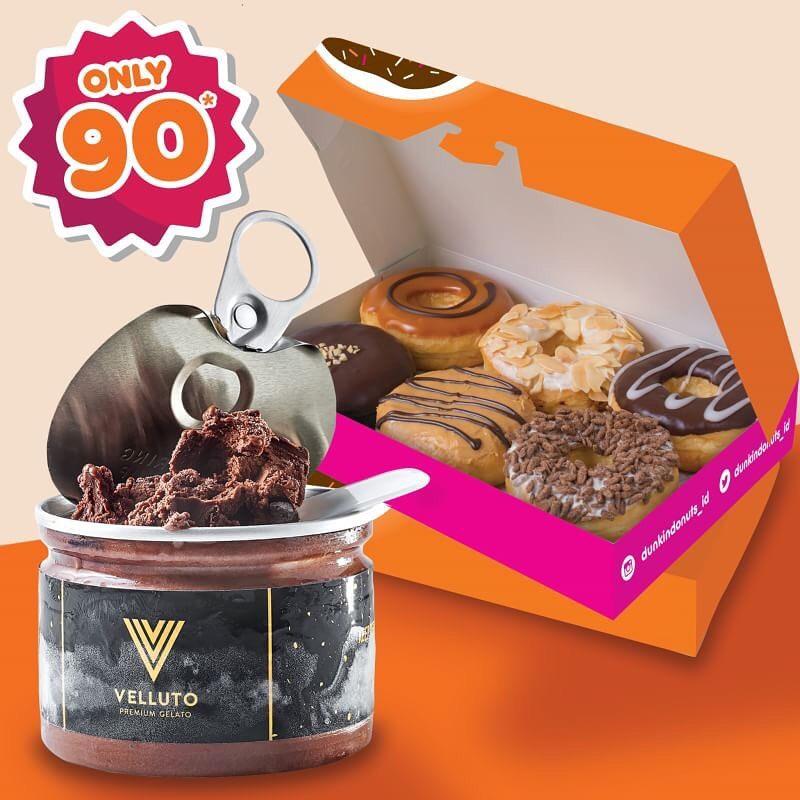 Diskon Dunkin Donuts Promo Paket 1 Lusin Donuts + Gelato Cuma Rp. 90.000