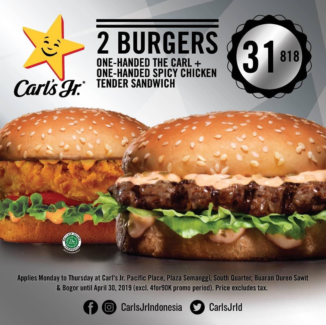 Diskon Carls Jr Promo Beli 2 Burger Pilihan Hanya Rp. 31.818!