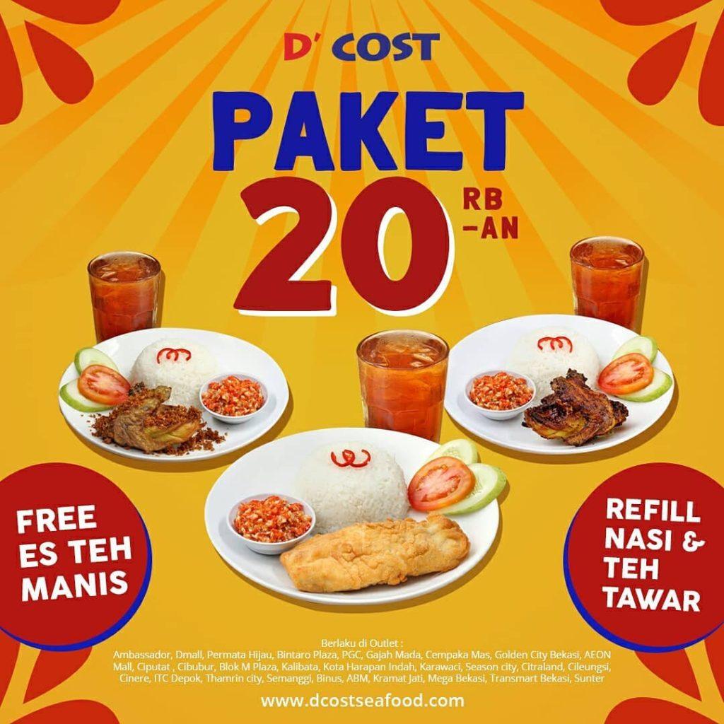D'Cost seafood Promo Paket 20ribuan – sudah termasuk Nasi dan Es Teh Manis