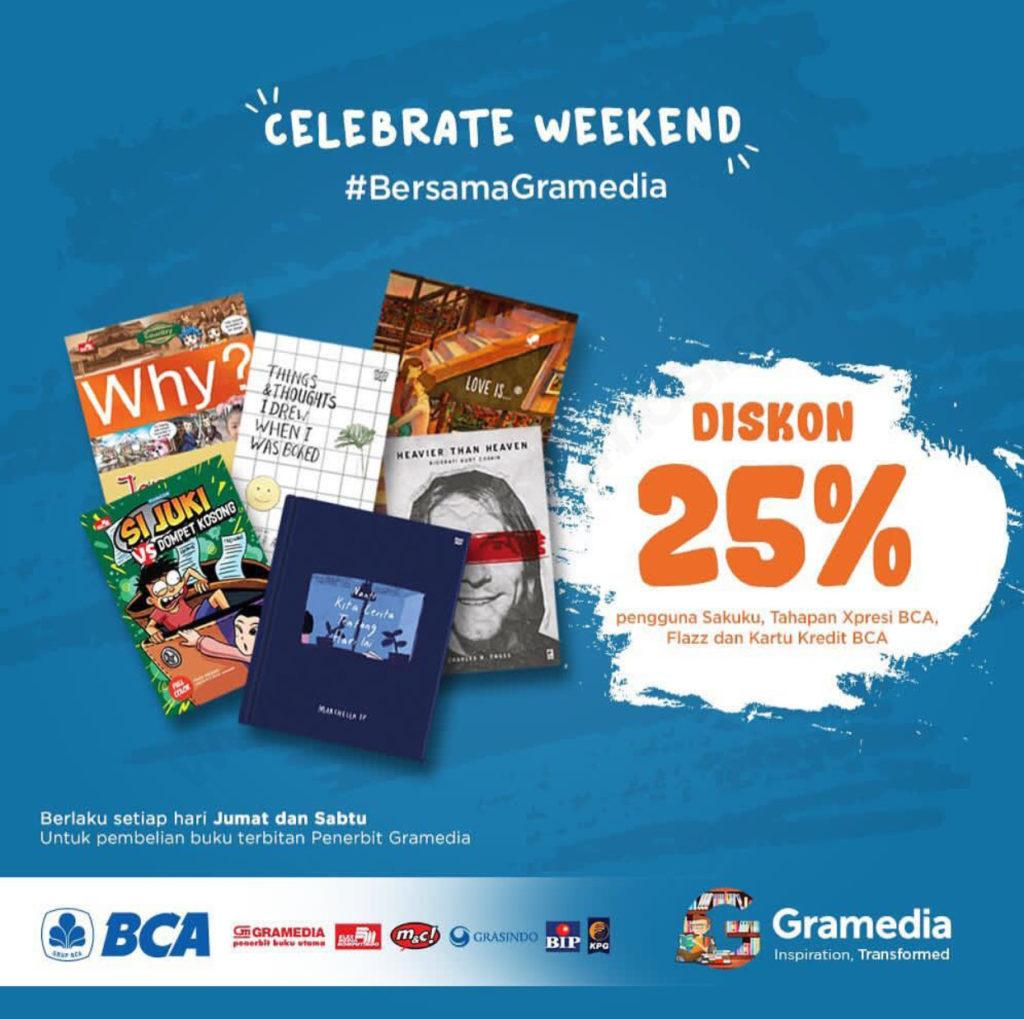 GRAMEDIA Promo Diskon 25% dengan Sakuku, Tahapan Xpresi BCA, Flazz dan Kartu Kredit BCA