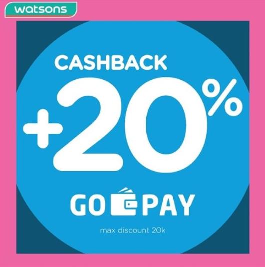 Diskon WATSONS Promo GOPAY – CASHBACK 20% untuk transaksi dengan GOPAY