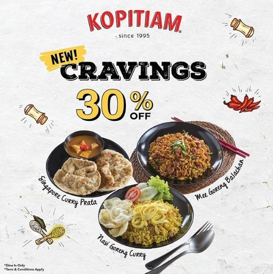 Diskon KOPITIAM Promo Get 30% off On New Cravings Menu