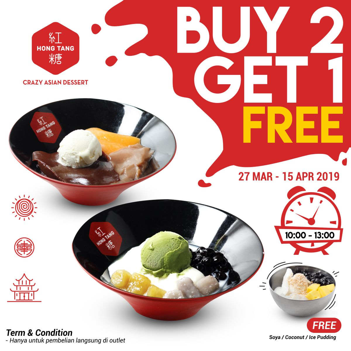 Diskon Hong Tang Promo Happy Hour - Buy 2 get 1 free
