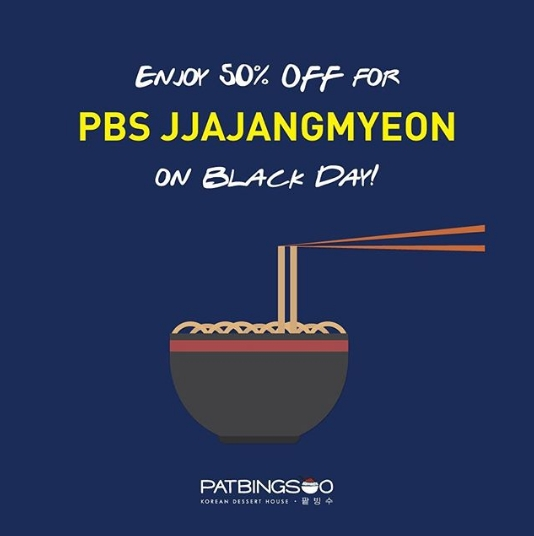 PATBINGSOO Promo Disc 50% Off For PBS JJAJANGMYON On Black Day