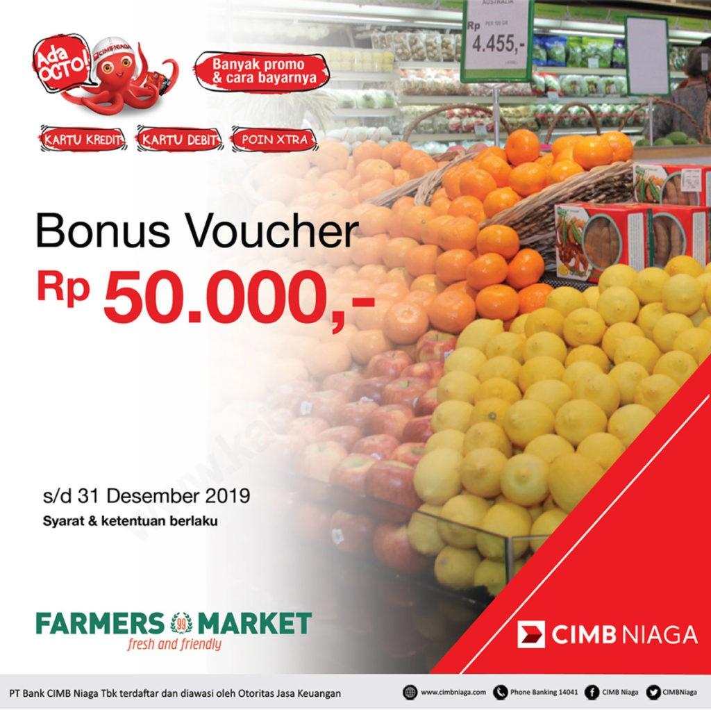 FARMERS MARKET Promo voucher belanja hingga Rp 50.000 dengan CIMB Niaga