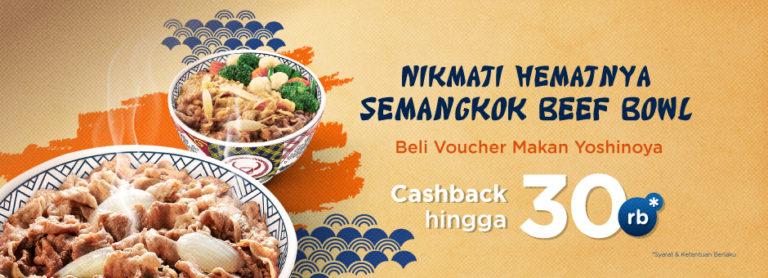 Tokopedia Promo Beli Voucher Makan YOSHINOYA Cashback hingga 30Rb