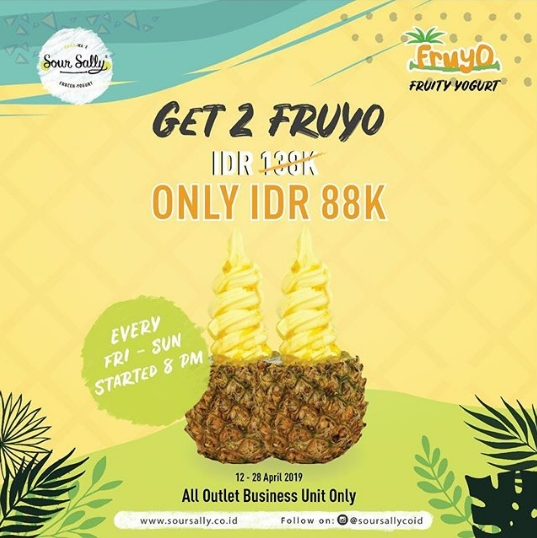SOUR SALLY Promo SPECIAL PRICE 2 Pineapple Fruyo only IDR 88 K