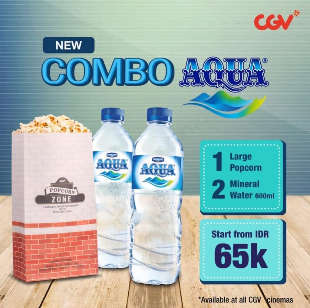 Diskon CGV Promo Combo AQUA – Paket Popcorn dan 2 Aqua Hanya Rp. 65.000