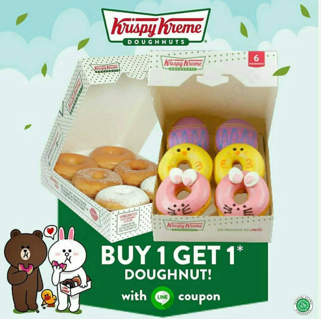 Krispy Kreme Promo Beli 1 GRATIS 1 Dengan Menggunakan Kupon LINE