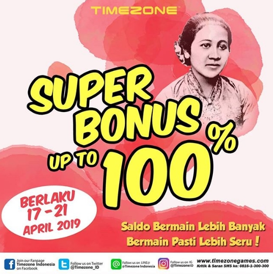 Diskon TIMEZONE Promo SUPER BONUS Up to 100%