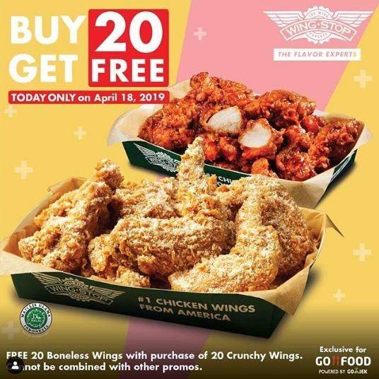 WINGSTOP GRATIS 20 Boneless Wings dengan membeli 20 Crunchy Wings