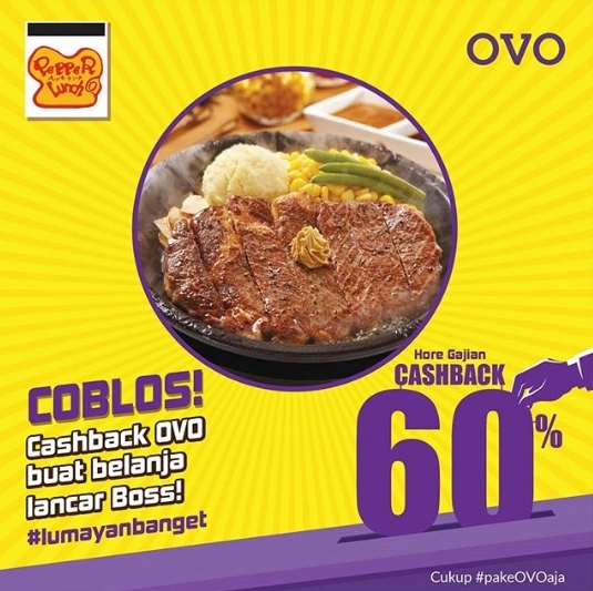 PEPPER LUNCH Promo CASHBACK 60% dengan OVO
