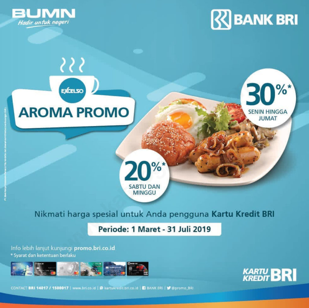 EXCELSO Promo DISKON HINGGA 30% dengan Kartu Kredit BRI
