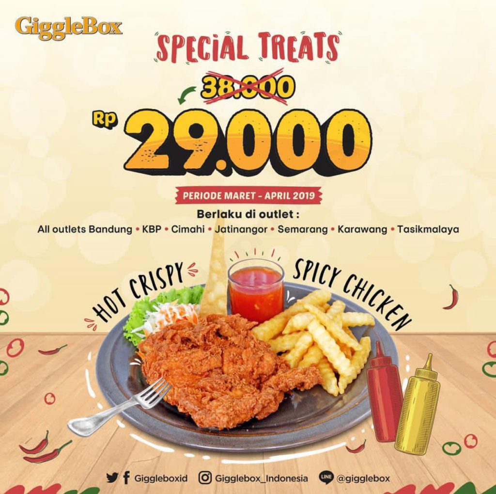 Diskon GIGGLE BOX SPECIAL TREATS Hot Crispy Spicy Chicken CUMA Rp. 29.000