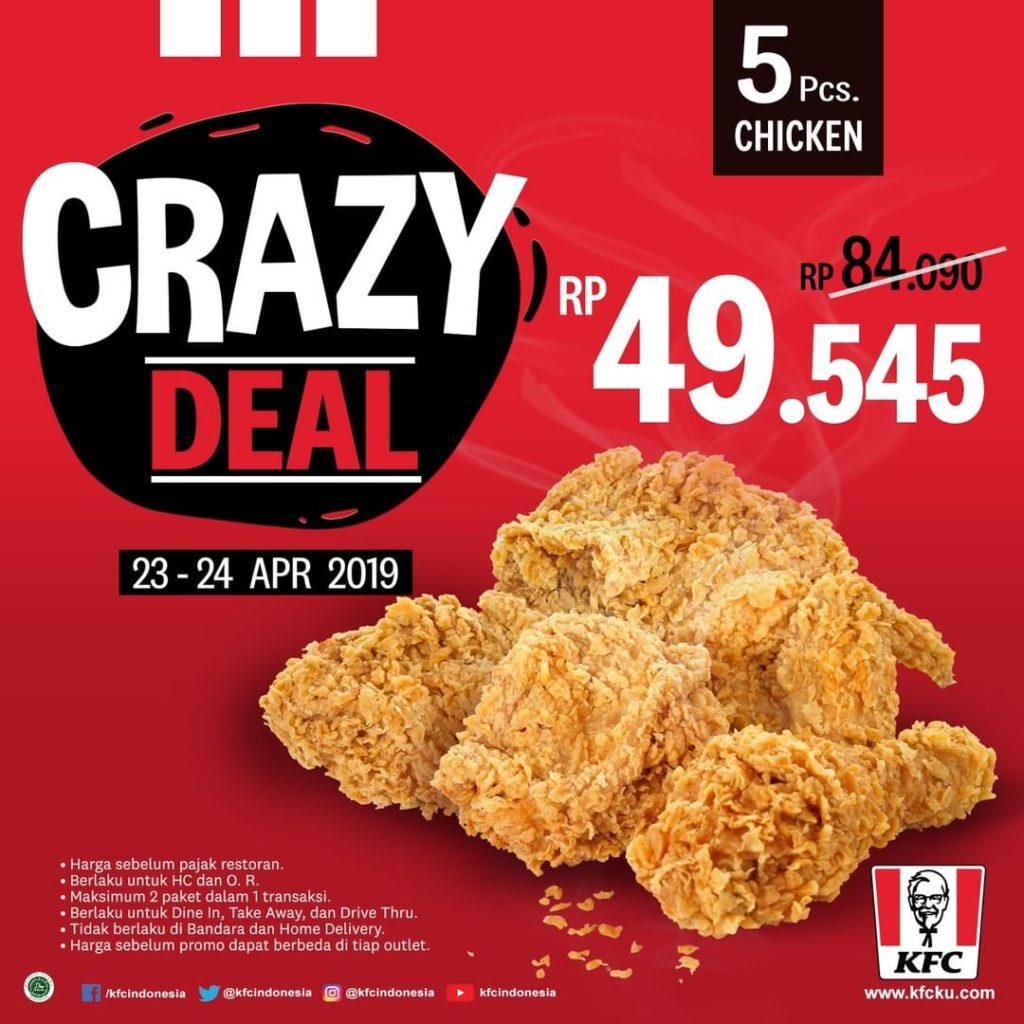 PROMO KFC CRAZY DEAL Paket 5 pcs Ayam mulai Rp. 49.545