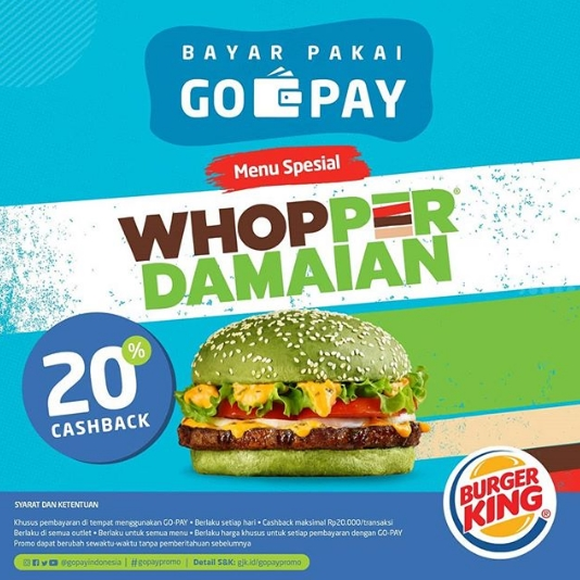 Diskon Burger King Cashback 20% dengan GOPAY