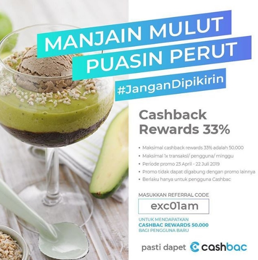 Diskon Excelso Promo Cashback Reward 33% dengan Cashbac App