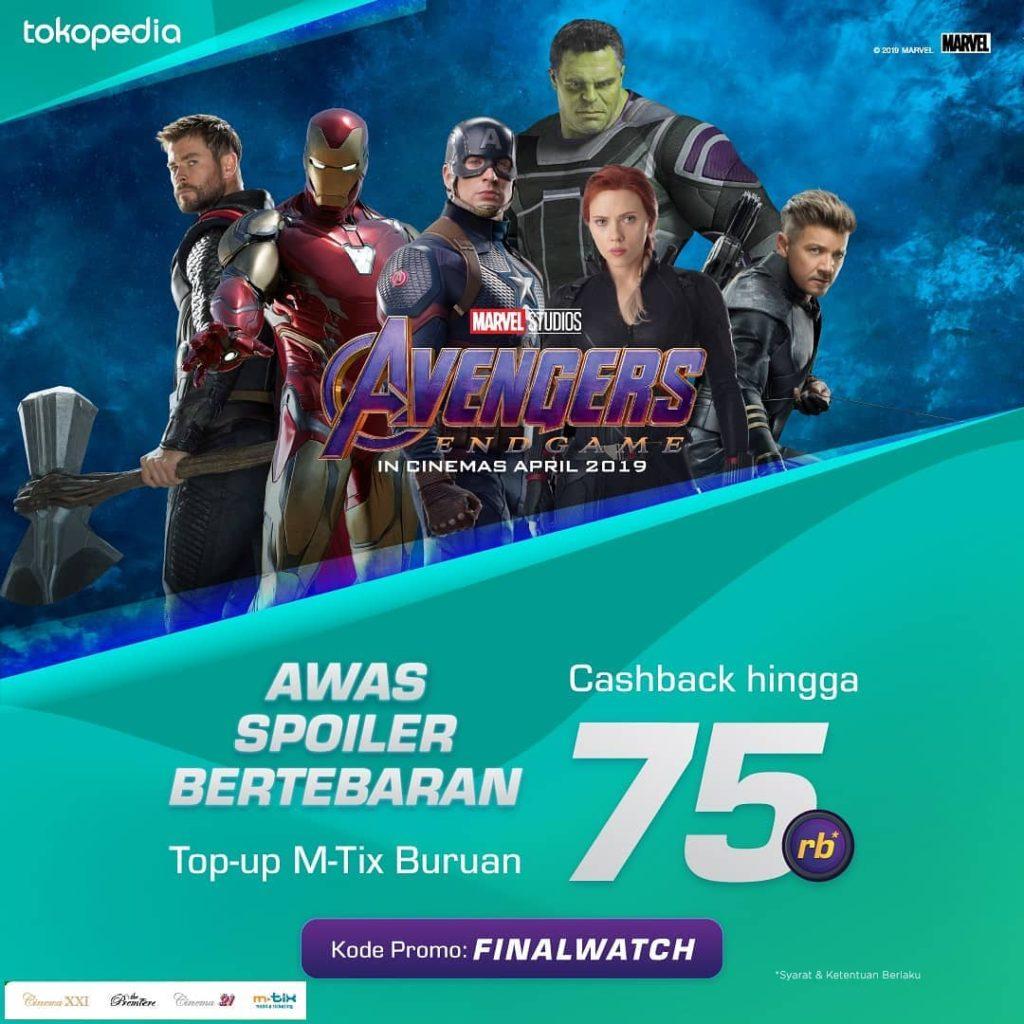 CINEMA 21 & XXI Promo CASHBACK hingga Rp. 75.000 Top Up MTix via TOKOPEDIA