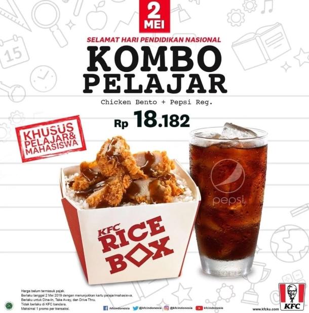 KFC Promo Combo Pelajar, Combo Hemat Cuma Rp 18.182