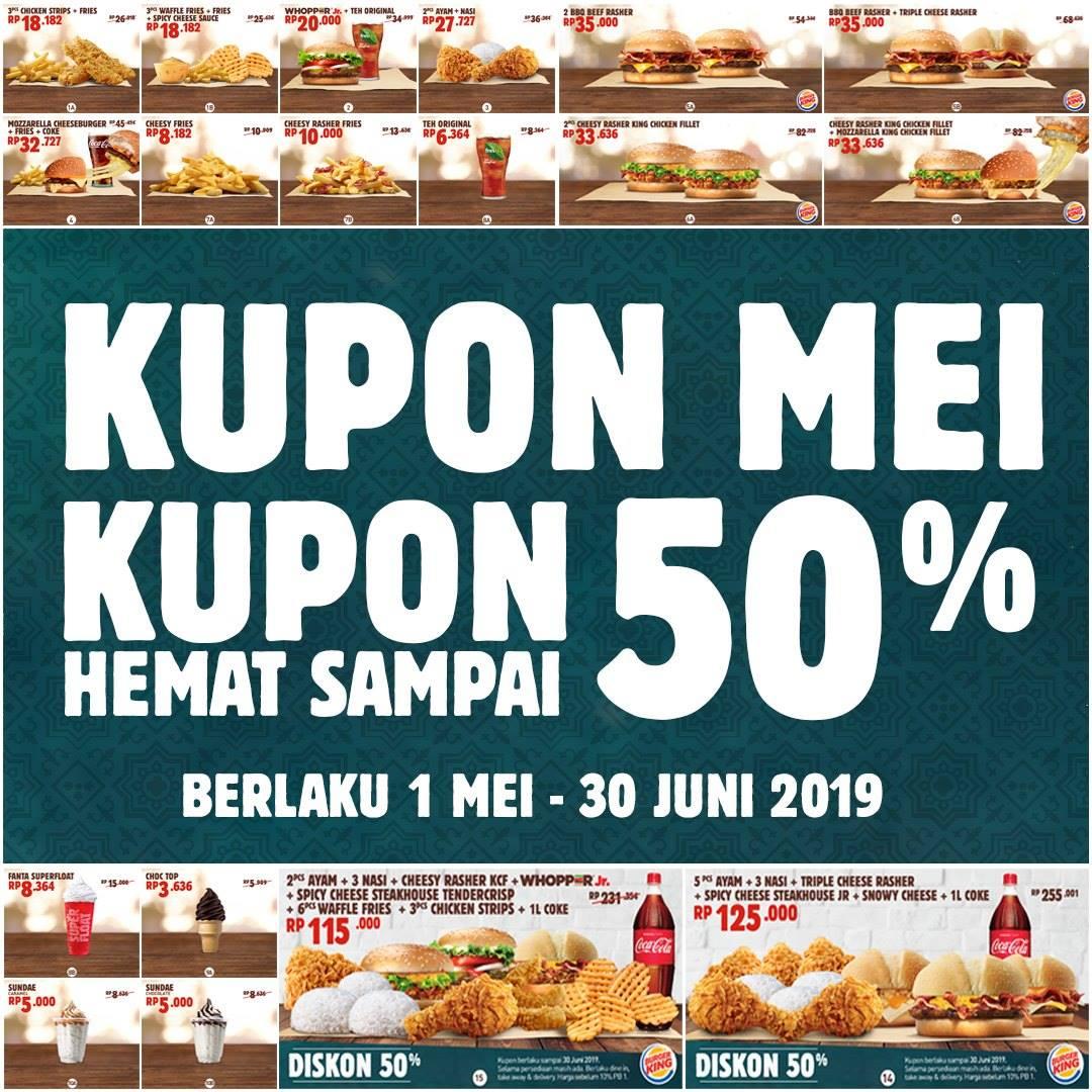 Diskon BURGER KING Promo KUPON HEMAT SPESIAL MEI – DISKON HINGGA 50%